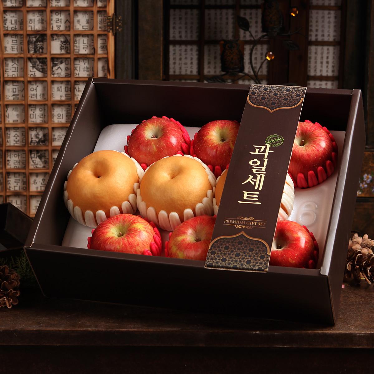 [선물세트] 정다운 한라봉사과혼합세트3kg(사과6개,한라봉4개)이식사