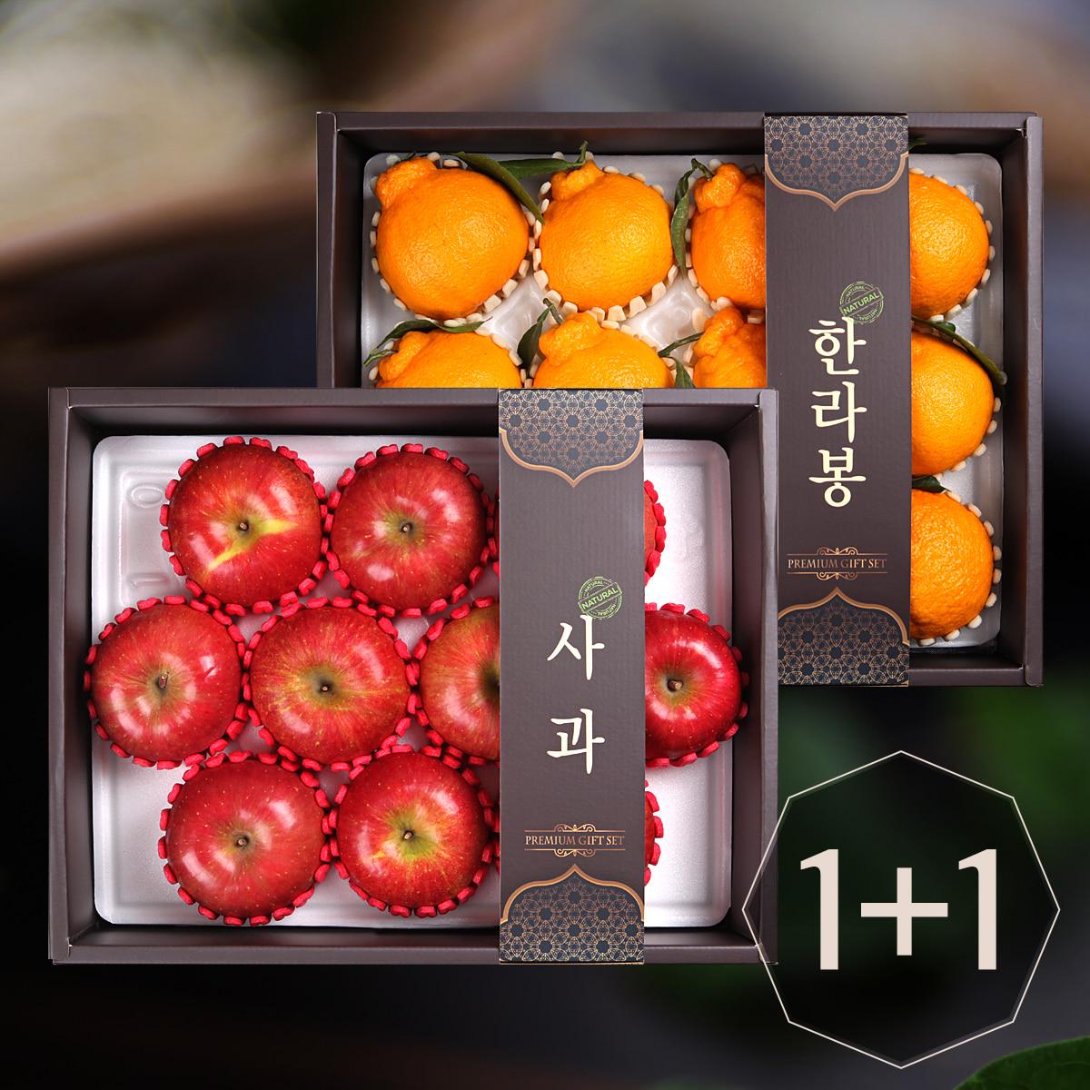 [기쁨두배]사과세트1박스(10개)+한라봉세트1박스(12개)이식사